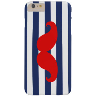 Red Mustache and Navy Blue Stripes Barely There iPhone 6 Plus Case