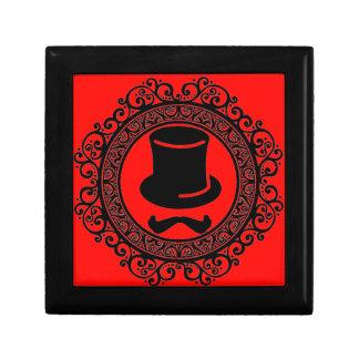 red mustache hat hipster keepsake box