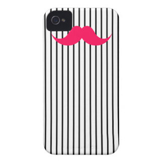 Red Mustache Stripes White iPhone 4 Case