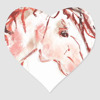 Red Mustang Heart Sticker