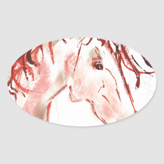 Red Mustang Oval Sticker