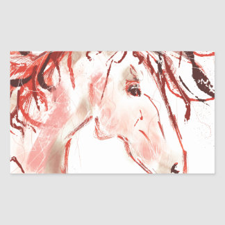 Red Mustang Rectangular Sticker