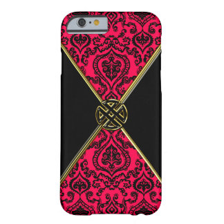 Red n Black Damask Gold Celtic Knot iPhone 6 Case Barely There iPhone 6 Case