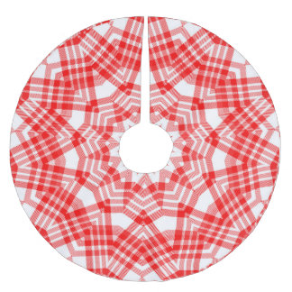 Red n White Christmas Plaid Brushed Polyester Tree Skirt