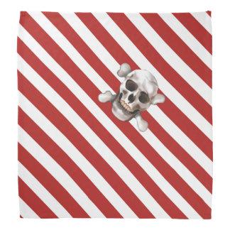 Red 'n White Pirate Stripes w' Skull & Crossbones Bandana