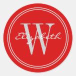 Red Name Monogram Envelope Seals Round Stickers