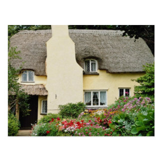 Red National Trust Cottage, Selworthy, Somerset fl Postcard