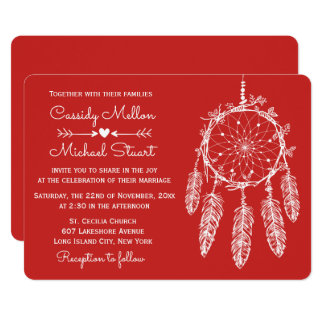 Red Native American Dream Catcher Boho Wedding Card