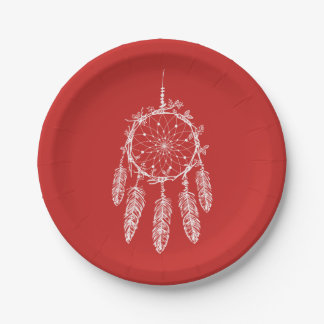 Red  Native American Dream Catcher Wedding Party Paper Plate