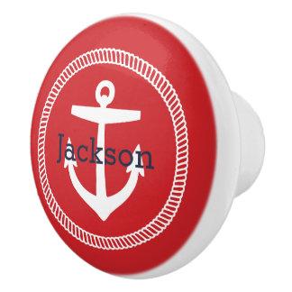 Red Nautical Anchor Monogram Ceramic Knob