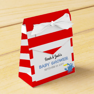 Red Nautical Blue Crab Baby Shower Favour Box