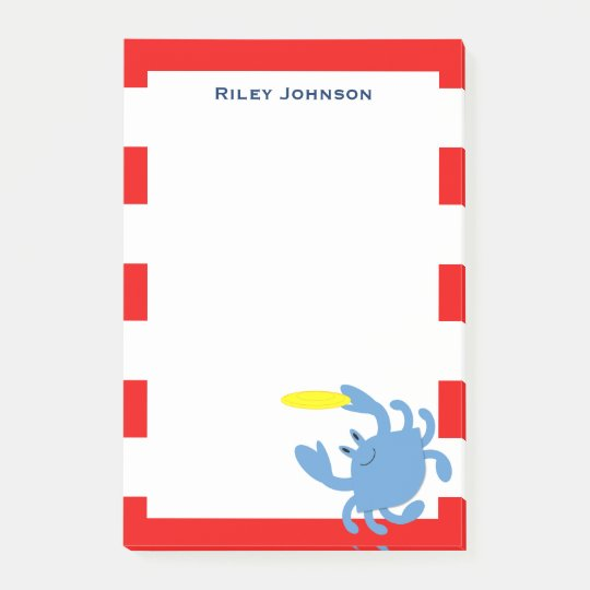 Red Nautical Blue Crab Personalised Post-it® Notes