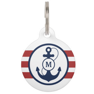 Red Nautical Monogram Pet Name Tag