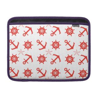 Red nautical pattern MacBook sleeves