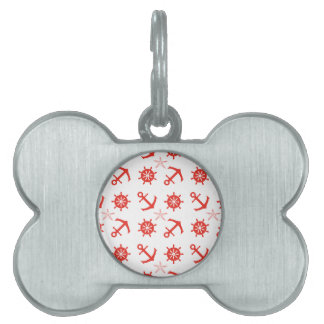 Red nautical pattern pet name tag
