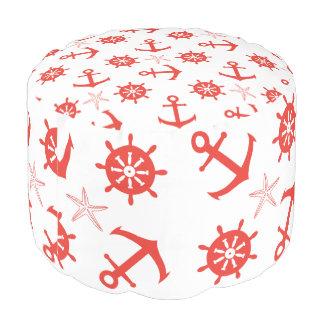 Red nautical pattern pouf