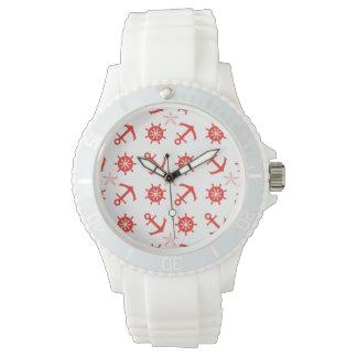 Red nautical pattern watch