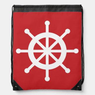 Red Nautical Ship Wheel Drawstring Bag