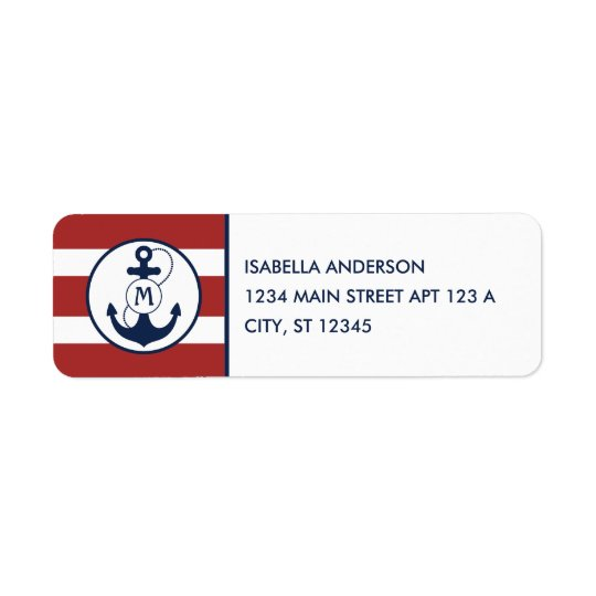Red Nautical Stripes with Anchor Monogram Return Address Label