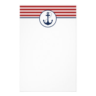 Red Nautical Stripes with Anchor Stationery
