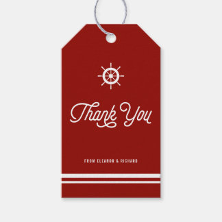 Red Nautical Thank You Script with Helm