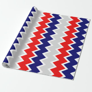 Red, navy blue, and grey chevron Wrapping paper