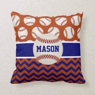 Red Navy Blue Baseball Throw Pillow