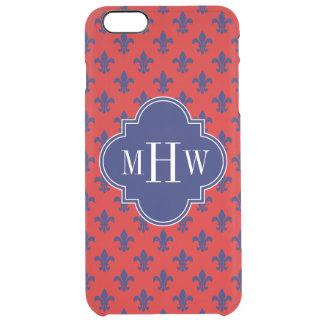 Red Navy Blue Fleur de Lis Navy 3 Initial Monogram Clear iPhone 6 Plus Case