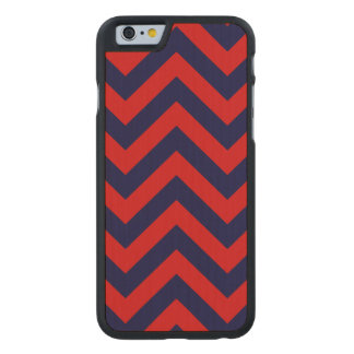 Red, Navy Blue Large Chevron ZigZag Pattern Carved® Maple iPhone 6 Slim Case