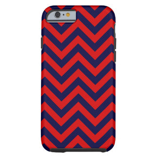 Red, Navy Blue Large Chevron ZigZag Pattern Tough iPhone 6 Case