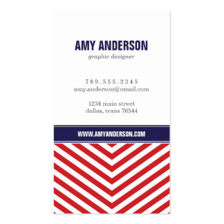 Red & Navy Blue Modern Chevron Stripes Pack Of Standard Business Cards