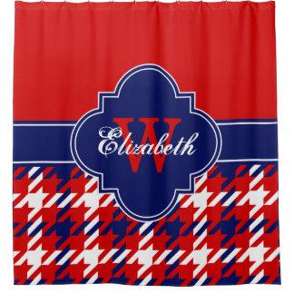 Red Navy Blue Wht 1I CB Ribbon Name Shower Curtain