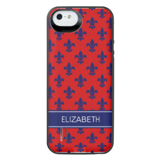 Red Navy Fleur de Lis Navy Name Monogram iPhone SE/5/5s Battery Case