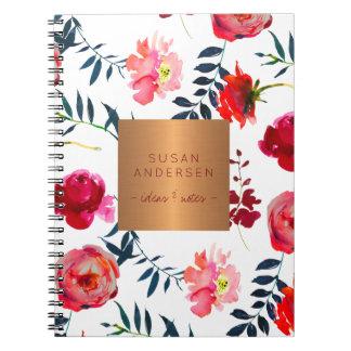 Red navy floral elegant rose gold copper metallic notebook