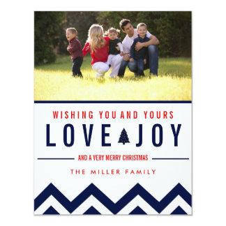 Red + Navy Love & Joy Holiday Photo Christmas 11 Cm X 14 Cm Invitation Card