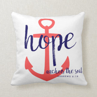 Red Navy Nautical Hope Anchors the Soul Verse Cushion