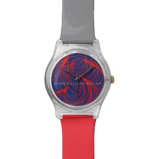 Red + Navy Waves Wrist Watches