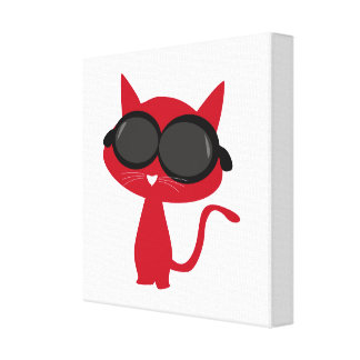 Red Neco(Cat) with Sun glass! Canvas Print
