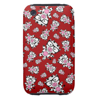 Red nerd cow pattern iPhone 3 tough covers