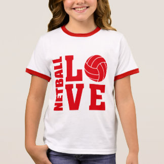 Red Netball Love, Netball Ringer T-Shirt