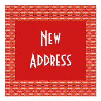 Red New Address 13 Cm X 13 Cm Square Invitation Card