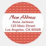 Red New Address Round Stickers