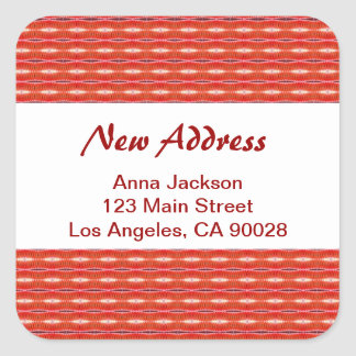 Red New Address Square Sticker
