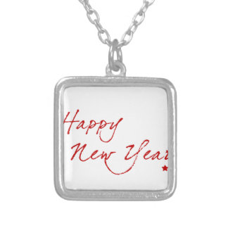 Red New-Year #2 Silver Plated Necklace