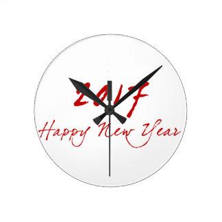 Red New-Year Round Clock