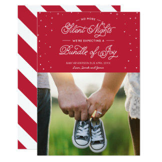"Red ""No More Silent Nights"" Holiday Photo Card 13 Cm X 18 Cm Invitation Card"