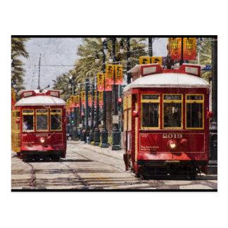 Red NOLA Streetcars Postcard