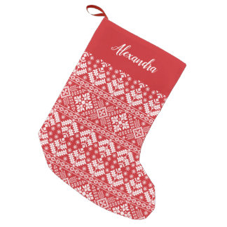 Red Nordic Sweater Pattern Personalized Small Christmas Stocking