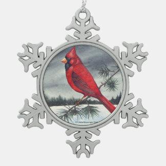 Red Northern Cardinal Bird Pewter Snowflake Decoration