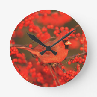 Red Northern Cardinal Male, IL Round Clock